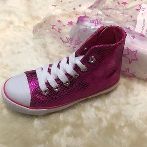 Other - Pink metallic high top sneakers